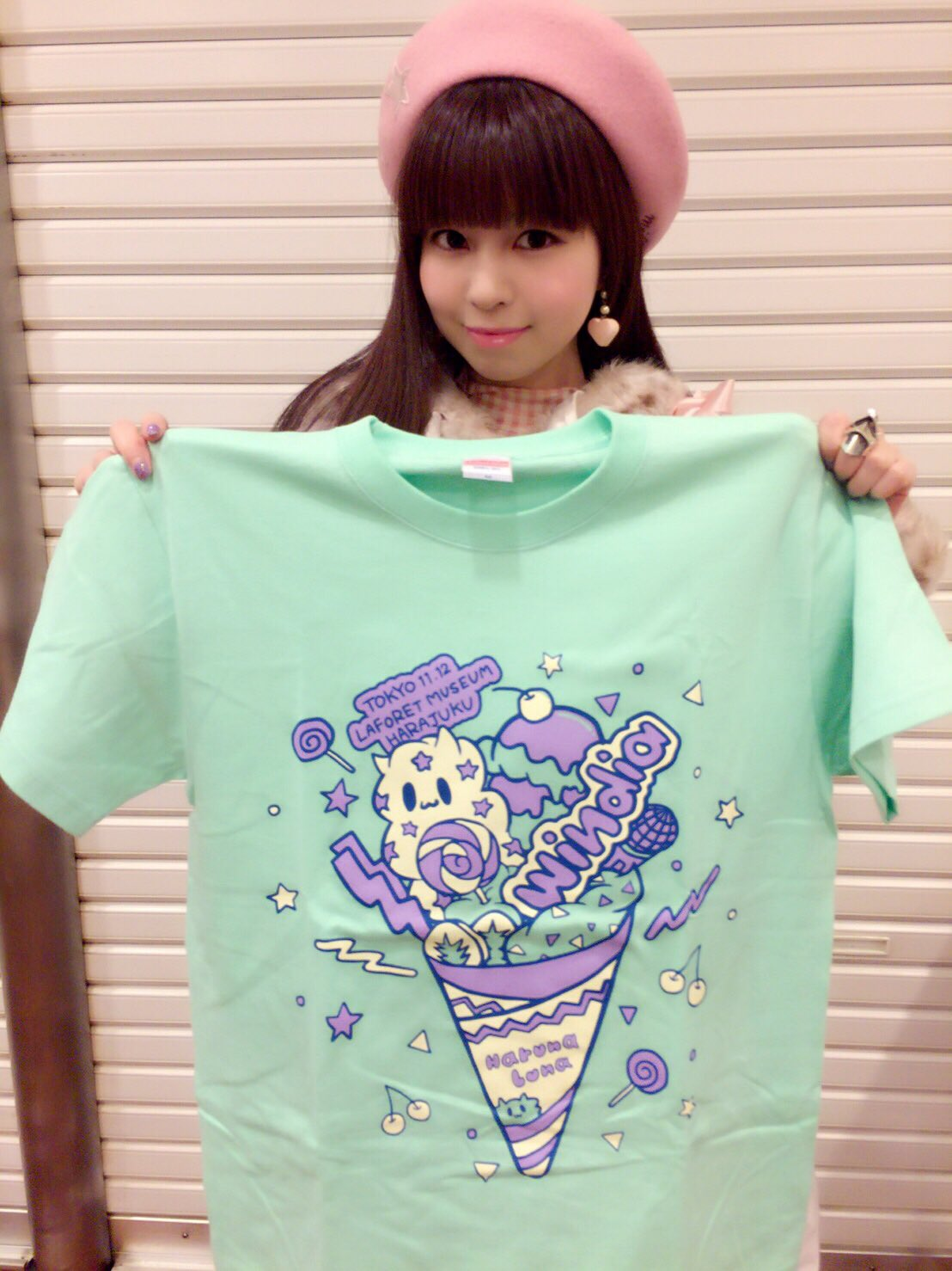 2016/11/8 のツイート「原宿バージョンのご当地Tシャツ!ものすごくKAWAIIよ!みなみクレープ」